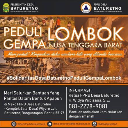 Penggalangan Bantuan Bagi Korban Bencana Gempa Bumi di Lombok NTB oleh FPRB Desa Baturetno